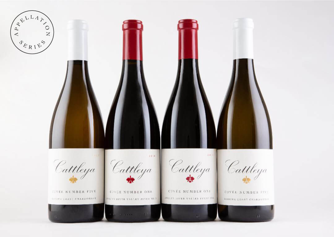 Appellation Blend Series Pinot Noir and Chardonnay Bottles